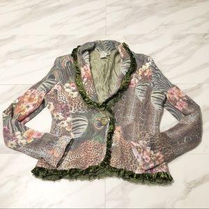 Alberto Mankali Angora Velvet Trim Knit Blazer